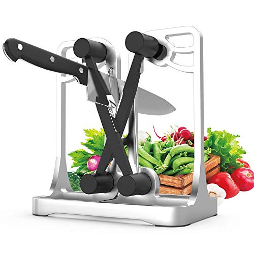 Jr.Hagrid Messerschärfer für Küchenmesser, professionell, manuell, Metallrahmen, zum Schärfen und Wetzen silberfarben