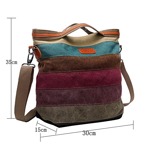 Women Canvas Cross Body Stripe Pattern Totes Shoulder Bags