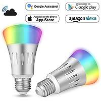 Bombilla WiFi Inteligente LED Inalambrica E27 7W Control Remoto Adaptable Alexa Google Home, BricoPlus App Voz Cambiable Luz RGBW e Intensidad Temporizar 2Pack