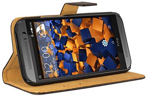 mumbi Ledertasche im Bookstyle für HTC One M8 / M8s Tasche schwarz (Htc M8 Flip-telefon Fall)