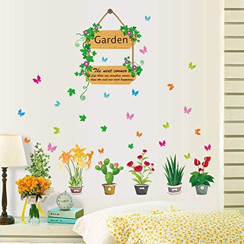 HhGold Papillon Couleur Chaude Romantique Plantes Fleurs Fleurs de Vigne Plantes en Pot Stickers muraux 95 × 89 cm