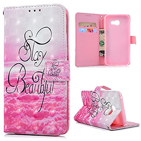 A5 2017 Leather Case A5 2017 Wallet Case KASOS Hybrid Premium PU Leather&Soft TPU Bumper Sunny Pink Clouds Flip Purse Cover Hand Wrist Strap PU Rope Notebook Design Cash&Card Slots Change Pouch Shell Front Closure Magnetic Lock Kickstand Cradle for Samsung Galaxy A5 2017