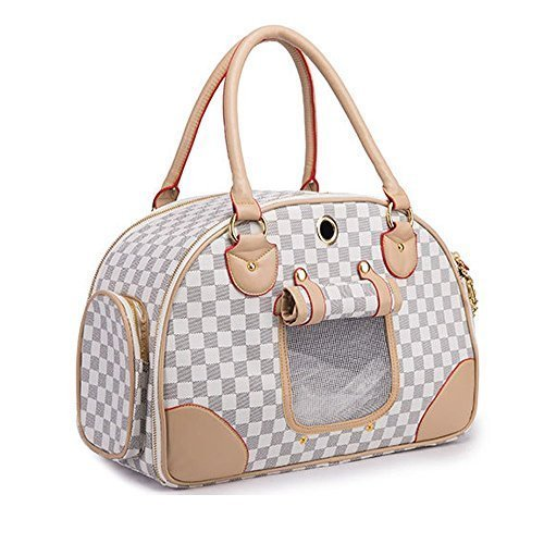 WOpet® Fashion Pet Dog Carrier PU Leather Dog Carriers Luxury Cat Travel Carrying Handbag for Outdoor Travel Walking Hiking by WOpet (Dog Carrier Pet)