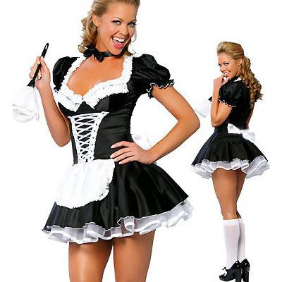 The Pink Rice Exclusive Sexy Naughty French Maid Fancy Dress Costume Waitress Adult Halloween Plus Size (Women: