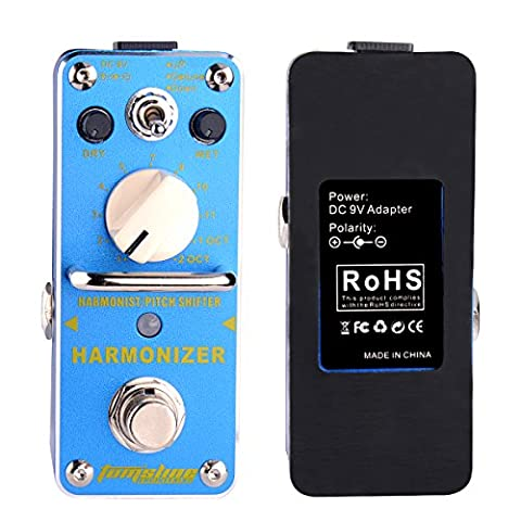 Harmonizer Harmonist Pitch Shifter Mini Electric Guitar Effect Pedal Digital Effect with True Bypass AROMA AHAR-3 Aluminum Alloy blue, by LC