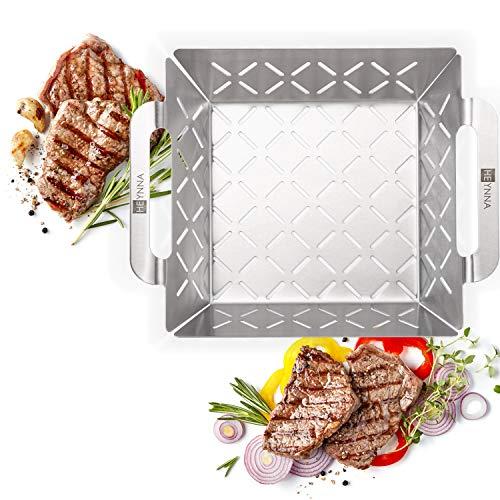 HEYNNA® Edelstahl Grillkorb - Grillzubehör Grillschale für Gemüse, Fleisch & Fisch auf dem Grill oder im Backofen