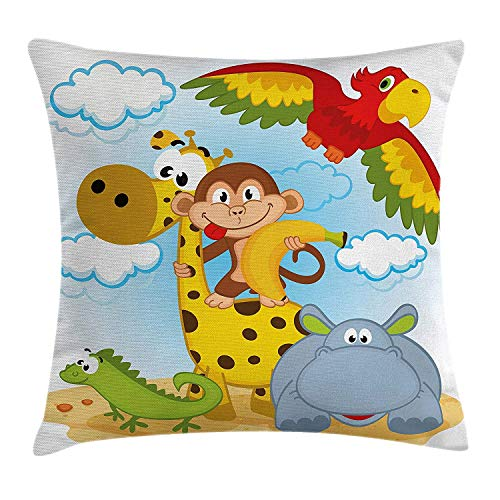 K0k2t0 Kids Throw Pillow Cushion Cover, African Animals Safari Theme Cartoon Illustration Monkey Parrot Giraffe Hippo Lizard, Decorative Square Accent Pillow Case, 18 X 18 Inches, Multicolor Taupe Lizard