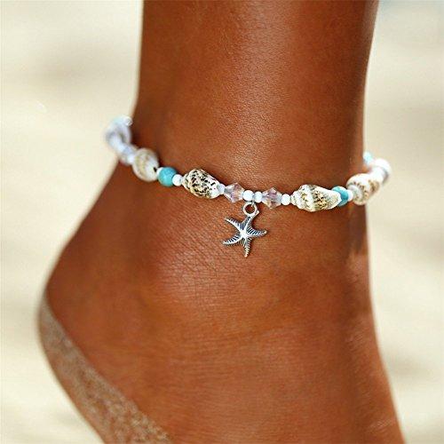 Ellepigy Frauen Weben Armband / Fußschmuck Seestern Anhänger Barfuß Strand Fußkette Knöchel Armband