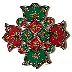 9 Piece Multi Design Floor, Table or Wall Decoration Rangoli – Green & Red