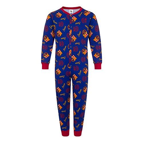 FC Barcelona - Kinder Schlafanzug-Overall - Offizielles Merchandise - Geschenk für Fußballfans - Blau - 11-12Jahre