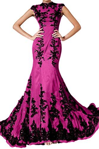 ivyd ressing Femme élégant motif dentelle Mermaid longue mousseline Lave-vaisselle robe robe du soir - Fuchsia