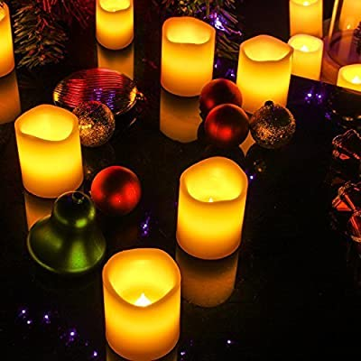 LED Candles with Timer, Kohree Flameless Votive Candles Battery Powered Candles, Perfect for Weddings, Xmas, Funerals, Souvenirs, Dia, 5-Hours-ON 19-Hours-OFF Daily Cycle Timer (Pack of 12) by Kohree