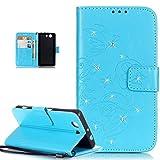 Kompatibel mit Sony Xperia Z3 Compact Hülle,Strass Glänzend Prägung Blumen Reben Schmetterling PU Lederhülle Handyhülle Taschen Flip Wallet Ständer Etui Schutzhülle für Sony Xperia Z3 Compact,Blau