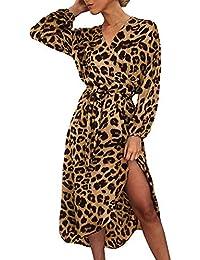 a650c6d348 VJGOAL Mujeres Primavera Moda Casual Manga Larga Estampado Leopardo Cintura  Alta Dividir con Cordones Wrap Falda
