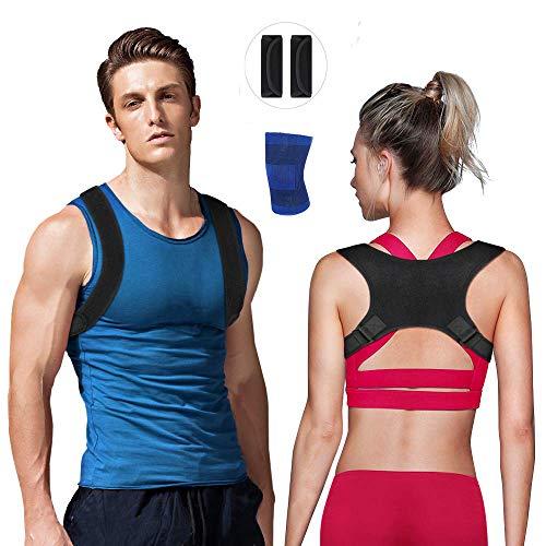 Nasharia Haltungskorrektur Unisex - Größenverstellbar, Geradehalter zur Schultergurt Rückenstütze Ideal für Linderung von Rückenschmerzen und Schulterschmerzen (mit 2 Schulterpolster & 1 Knieschoner) -
