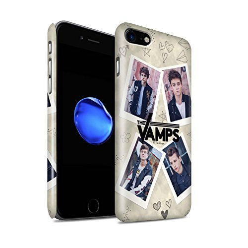 Offiziell The Vamps Hülle / Glanz Snap-On Case für Apple iPhone 7 / Rot Stift Muster / The Vamps Doodle Buch Kollektion Mappe