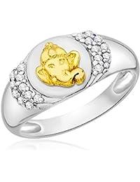 Taraash 925 Sterling Silver CZ With Gold Plated Ganesha Finger Ring CBFRBX_19I-01