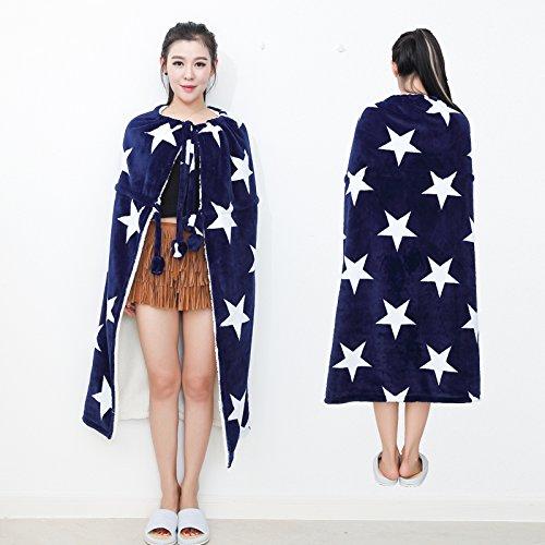 CLG-FLY Mollettone coperte per tenere caldo in autunno e mantelle inverno scialli coperta copertura gambe pigro di Office NAP NAP,Stella blu,100cmX100cm