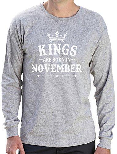 Geschenk Shirt für den Mann - Kings are born in November Langarm T-Shirt Grau
