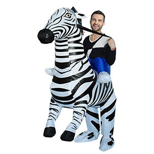 Triseaman Unisex Erwachsene Halloween Lustige Fancy Blow Up Outfit Kostüm Aufblasbare Anzug (Zebra Herren Kostüm)