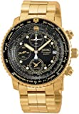 Gold Tone 200m Flight Chronograph Black Dial