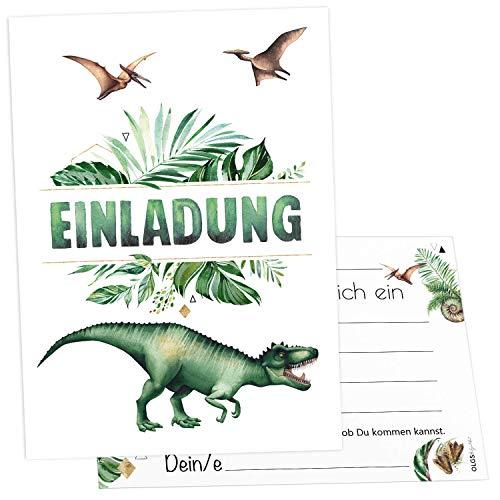 12 Einladungskarten Dinosaurier Kindergeburtstag Kinder Party Geburtstag-Einladungen zum ausfüllen Dino (Dino Jungle)