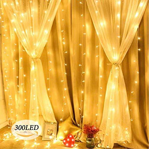 300 LED 3m x 3m Tenda Luminosa Luce Della Stringa Finestra, 8 Modalità per Interni/Esterni per Feste, Natale, Matrimoni, Patio di Casa, Balcone, Giardino,Terrazza, (Bianco Caldo)