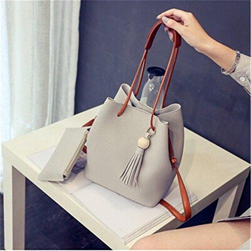 Preisvergleich Produktbild LnLyin Holz Bead Troddelhandtasche Umhängetasche Messenger Bag