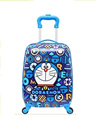 Toy4Pick Polycarbonate 360 Degree Rotating Doraemon Printed Baby Boy's and Baby Girl's Trolley Bag with Cabin (Blue/Multicolour, 18-inch/Small)