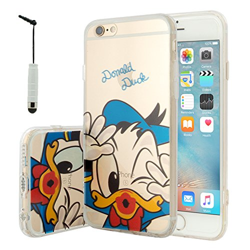 VCOMP® Transparente Silikon TPU Handy Schutzhülle mit Motiv Cartoon Disney für Apple iPhone 5/ 5S/ SE - Winnie the Pooh Donald Duck + Mini Eingabestift