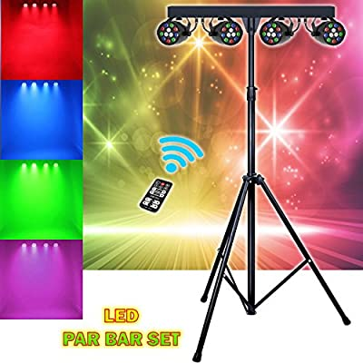 Sound Active DMX LED Par Disco Club DJ Light Effect RGBW Lighting Spotlight Kit With Stand