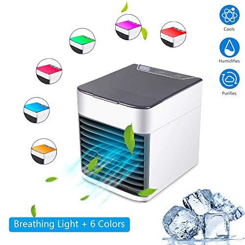 AWLLY Dreifacher Tragbarer Luftkühler Luftbefeuchter Luftreiniger USB-Ladestation Einstellbare 7-Farben-LED-Nachtlicht Mit DREI Geschwindigkeiten Geeignet Für Family Office