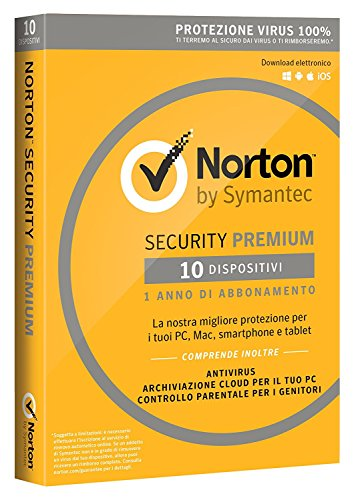 Norton Security Premium 2018 Licenza per 10 Dispositivi per 1 Anno - Licenza ESD (Electronic Software Distribution)