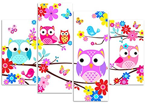 Childrens Fun Owls with Flowers & Butterflies Tree Branch - 4 Panel - Canvas Wall Art Print Picture - Overall Size 104cm x 69cm - Framed and Ready to Hang - Please Choose Your Backbround Colour from the Selection Boxes - by Rubybloom Designs