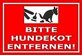 Schild – Hier ist kein Hundeklo – Bitte Hundekot entfernen – 15x10cm, 30x20cm und 45x30cm – Bohrlöcher Aufkleber Hartschaum Aluverbund -S00187-028-D