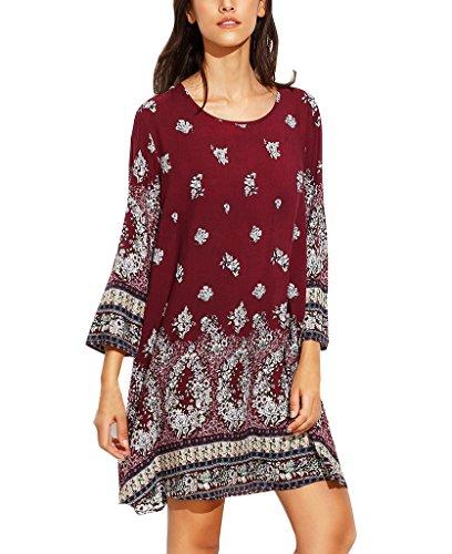 Tunika Damen Casual Ethno-Style Blusenkleid Minikleid Kleid Rundhals Blumenmuster 3/4 Ärmel Lose T-Shirt-Kleid