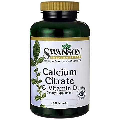 Swanson - Citrate de Calcium + Vitamine D, 250 comprimés - Cholécalciférol (D3 Naturelle) - SANTÉ OSSEUSE - Complément Bio-Actif pour Os (Calcium Citrate & Vitamin D-3 tablets - Bone Health)