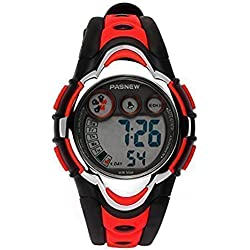 Hiwatch Relojes Deportivos Impermeable para los Niños/Niñas Reloj de Pulsera Digital a Prueba de Agua Infantiles Rojo