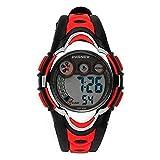 Hiwatch Orologio Bambino Sportivo Impermeabile Digitale con Cronometro Allarme per Ragazzi e Bambini Rosso