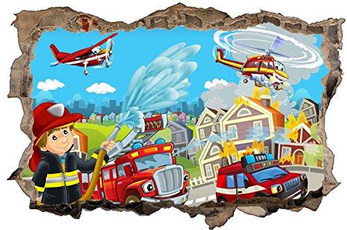 Feuerwehr Stadt Feuer Kinder Wandtattoo Wandsticker Wandaufkleber D0867 Größe 70 cm x 110 cm (Vinyl-keller-fenster)