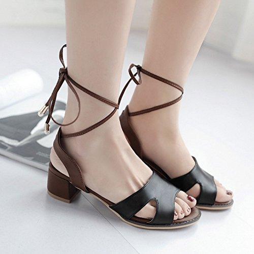 COOLCEPT Femmes Mode Lacets Sandales Orteil Ouvert Bloc Slingback Chaussures Noir