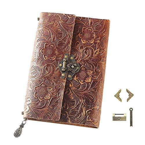 ScrodCat Cuaderno de notas con papel en blanco, hecho a mano de cuero, de aspecto antiguo, perfecto como regalo o diario de viaje, para hombre y mujer, tamaño mediano 19 x 14 cm, color naranja