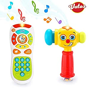 VATOS Baby Toys Set, Baby Remote Control Toy & Baby Hammer Toy for 12 to 18 Months up | Infant Toys Lighting & Sound Baby Hammer Best Toys for 1 Year Old + | Best Gifts 12 Months + Toys