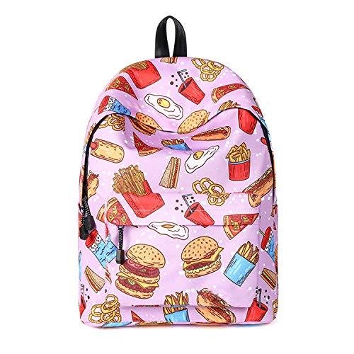 (SJLN Mädchen Student Schultasche Wasserdicht Große Kapazität Outdoor Rucksack Bürde Komfort Atmungsaktiv Reisen Rucksack,Pink-OneSize)