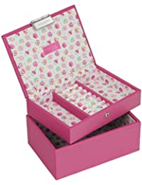 STACKERS Set of 2 'JUNIOR' - Pink STACKER Set of 2 Jewelry Box with Cupcake Print Lining