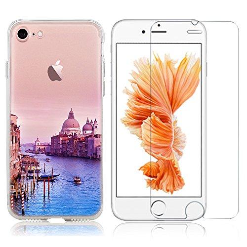 Cover iPhone 6S (4.7) ,iPhone 6 Custodia ,Bonice TPU Morbido Ultra Slim Soft TPU Paesaggio Scenario Case + 1x Protezione Dello Schermo Screen Protector, snow Mountain model 01