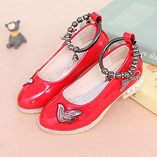 Free Fisher Chaussures à Talon bas Avec Chaîne de pied Fille Enfant Ballerine Bal Cérémonie Mariage Rouge