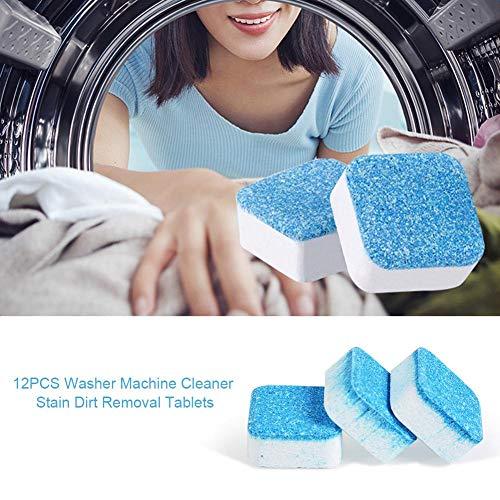 Bulary 12 STÜCKE Waschmaschine Maschinenreiniger Fleck Schmutzentfernung Tabletten Tiefenreinigung Entferner Deodorant Langlebig, Professionelle Stärke Fleck & Geruch Eliminator -
