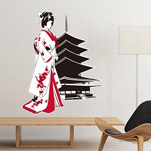 Japan Kultur Japanischen Stil, Rot Schwarz Kimono Girl Tempel Silhouette Art Illustration Muster Abnehmbare Wand Aufkleber Art Aufkleber Wandbild DIY Tapete für Raum Aufkleber