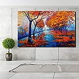 tzxdbh 60x90 cm Leinwand Gemälde Wandkunst Bäume Landschaft Ölgemälde Druck Auf Leinwand Gelb Klassische WallDecor Für Wohnzimmer